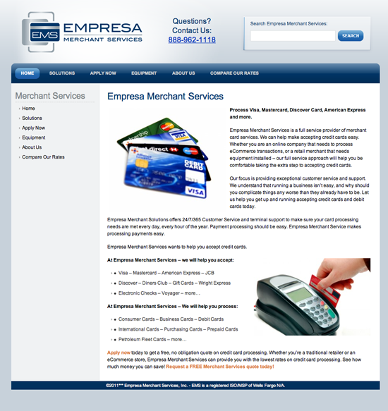 Empresa Merchant Services - Accept Visa, Master Card, Discover and American Express in your business