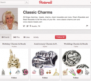 An example of Pinterest pinboards