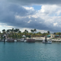Pulling into Great Stirrup Cay on the tender boar