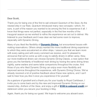 Email from Royal Caribbean President & CEO Michael Bayley to past Quantum of the Seas passengers